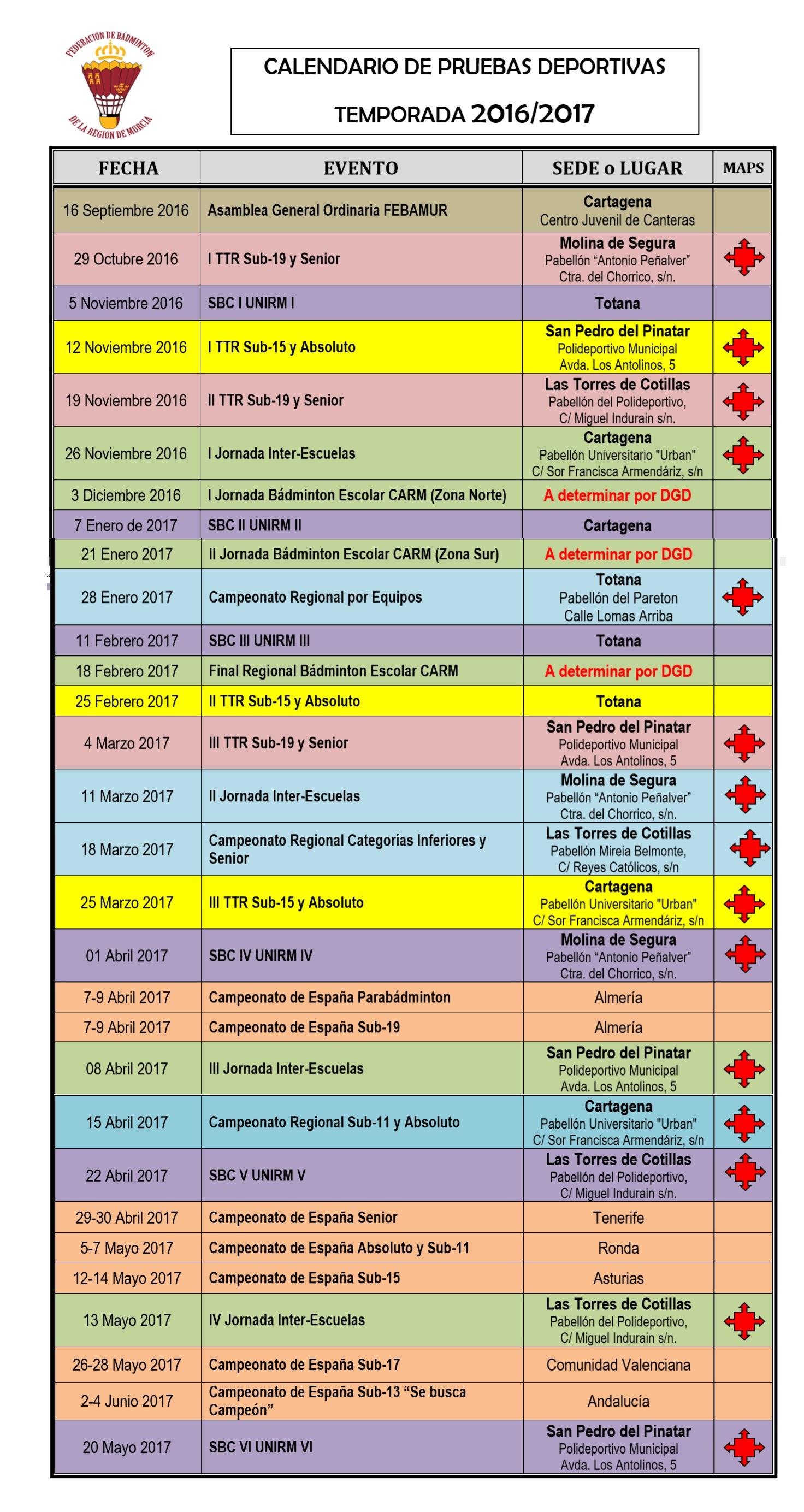 Calendario Deportivo Temporada 201617
